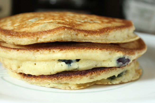 Quick Blueberry Sourdough Pancakes!